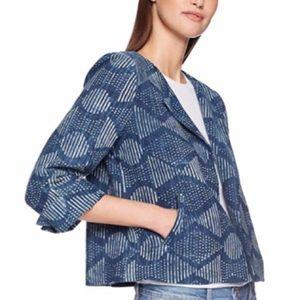 Eileen Fisher Indigo Hand-Printed Cotton Jacket